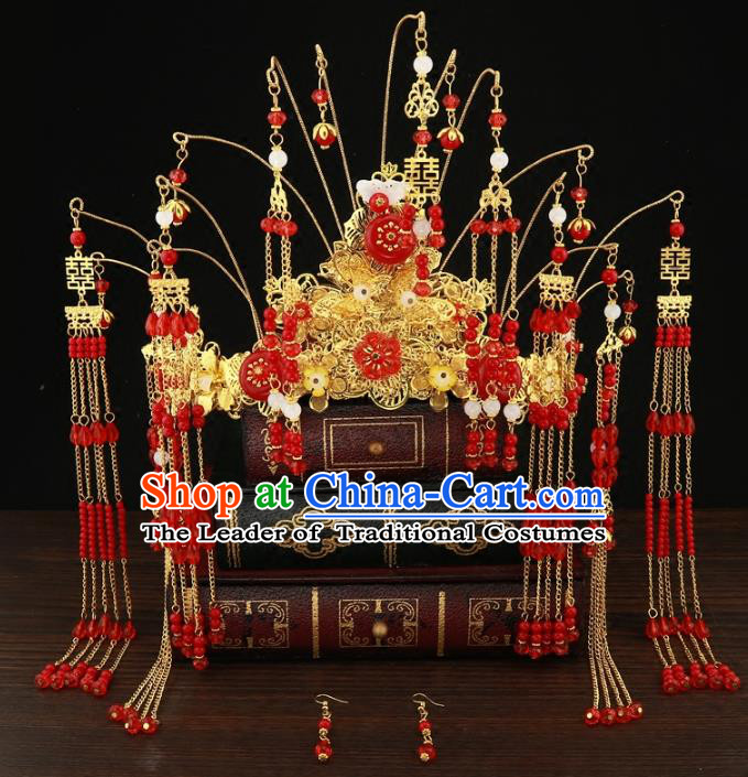 Chinese Traditional Hair Accessories Xiuhe Suit Handmade Red Beads Tassel Phoenix Coronet Ancient Hairpins Step Shake for Women