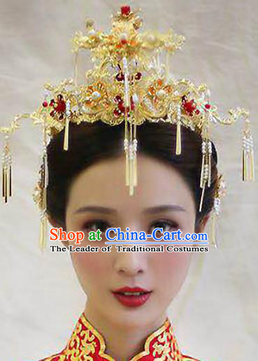 Chinese Traditional Xiuhe Suit Hair Accessories Bride Tassel Phoenix Coronet Ancient Hairpins Complete Set for Women