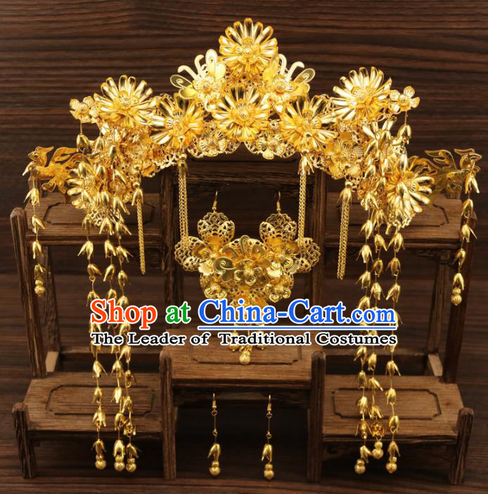 Chinese Traditional Xiuhe Suit Hair Accessories Bride Golden Phoenix Coronet Ancient Hairpins Complete Set for Women