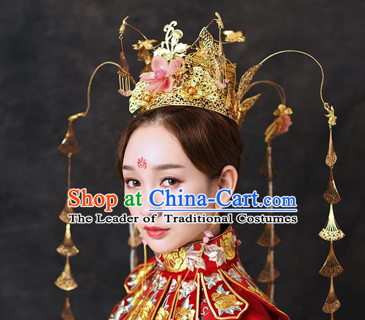 Chinese Traditional Handmade Queen Phoenix Coronet Hair Accessories Ancient Hairpins Complete Set for Women