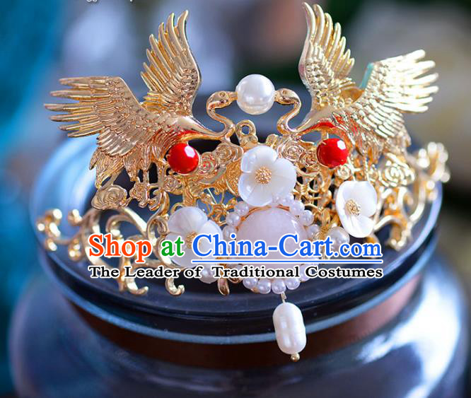 Chinese Traditional Handmade Hair Accessories Ancient Hairpins Cranes Frontlet Hair Stick for Women