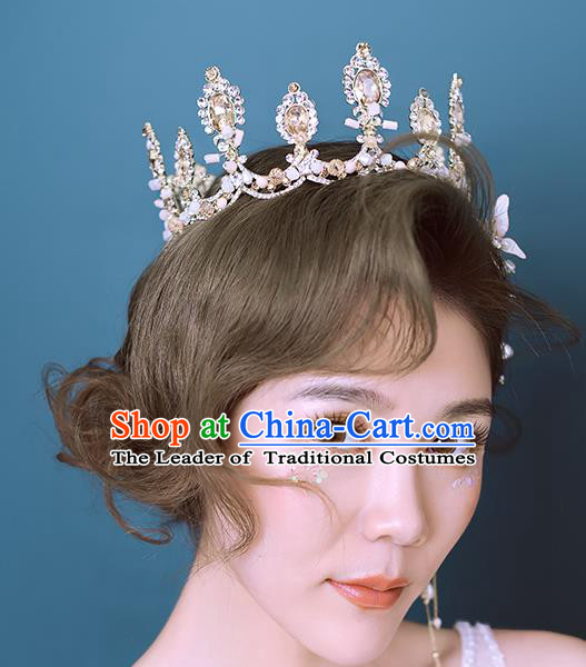 Baroque Style Hair Jewelry Accessories Bride Crystal Royal Crown Princess Hair Clasp for Women
