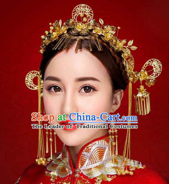 Chinese Traditional Xiuhe Suit Phoenix Coronet Hair Accessories Ancient Hairpins Hair Clips Complete Set for Women
