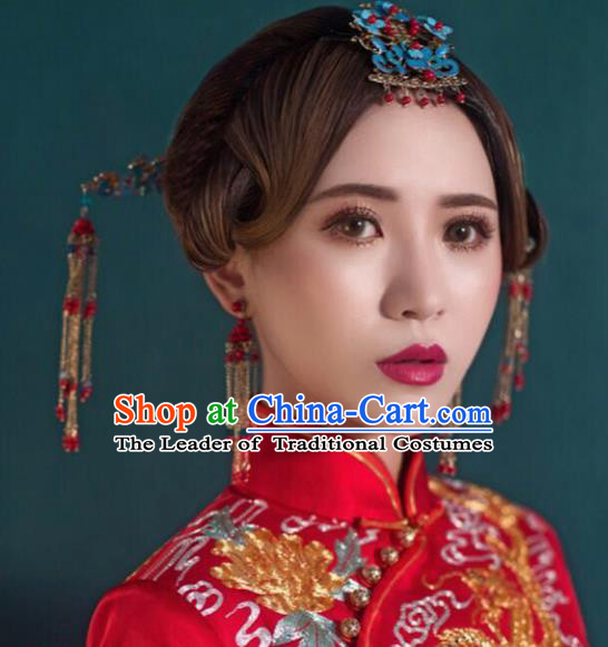 Chinese Traditional Handmade Hair Accessories Xiuhe Suit Hair Clips Ancient Hairpins Complete Set for Women
