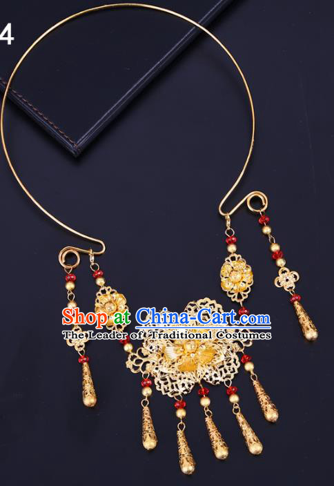 Traditional Chinese Jewelry Accessories Golden Necklace Ancient Hanfu Tassel Necklet for Women