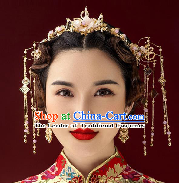 Chinese Traditional Handmade Hair Accessories Xiuhe Suit Pearls Hair Clasp Ancient Hairpins Complete Set for Women