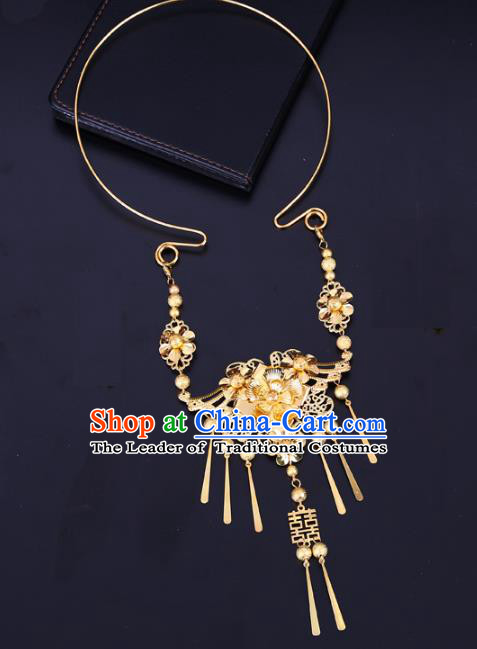Traditional Chinese Jewelry Accessories Necklace Ancient Hanfu Golden Flowers Tassel Necklet for Women