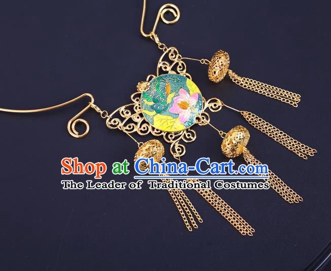 Traditional Chinese Jewelry Accessories Lotus Necklace Ancient Hanfu Tassel Necklet for Women