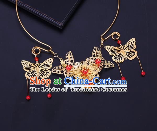 Traditional Chinese Jewelry Accessories Necklace Ancient Hanfu Golden Butterfly Tassel Necklet for Women
