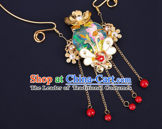 Traditional Chinese Jewelry Accessories Lotus Necklace Ancient Hanfu Golden Necklet for Women