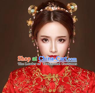 Chinese Traditional Handmade Bride Xiuhe Suit Hair Accessories Ancient Hairpins Complete Set for Women