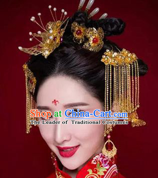 Chinese Traditional Wedding Xiuhe Suit Hair Accessories Ancient Hairpins Complete Set for Women