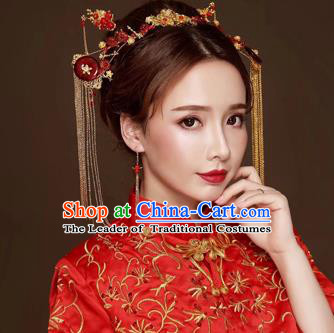 Chinese Traditional Hair Accessories Bride Xiuhe Suit Hair Clasp Ancient Hairpins Complete Set for Women