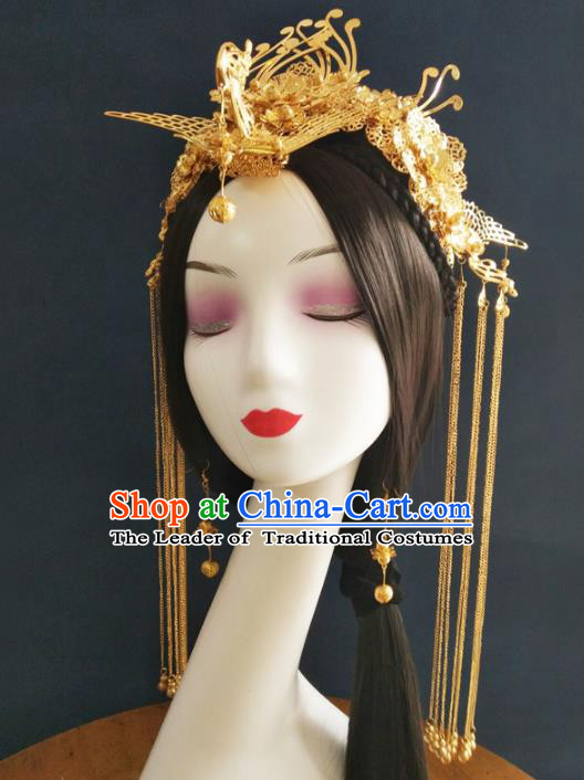 Chinese Traditional Xiuhe Suit Hair Accessories Ancient Empress Phoenix Coronet Hairpins Complete Set for Women