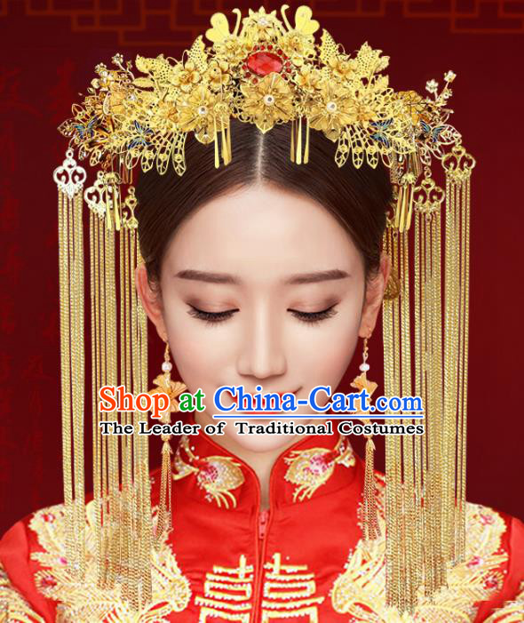 Chinese Traditional Xiuhe Suit Hair Accessories Complete Set Ancient Empress Phoenix Coronet Hairpins for Women