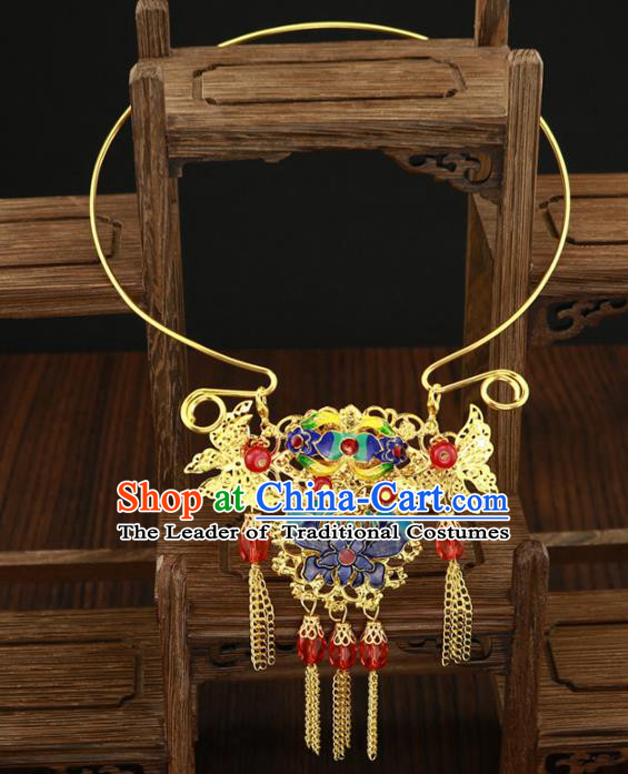 Traditional Chinese Jewelry Accessories Blueing Lotus Necklace Ancient Hanfu Necklet for Women