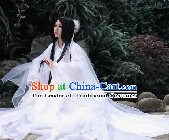 Chinese Ancient Cosplay Fairy Costume Jin Dynasty Princess White Hanfu Dress for Women