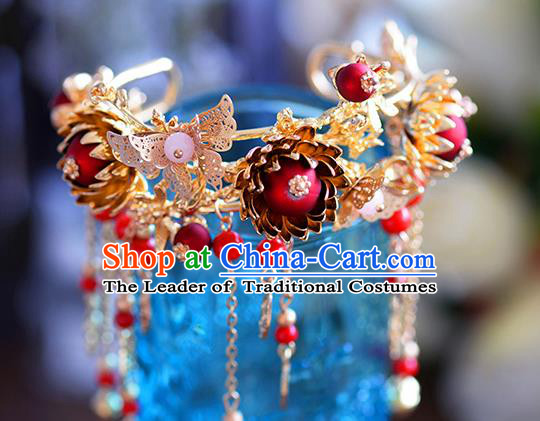 Chinese Handmade Jewelry Accessories Ancient Palace Bracelet Hanfu Red Beads Bangle for Women