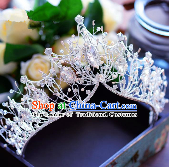 Baroque Style Hair Jewelry Accessories Bride Crystal Royal Crown Princess Imperial Crown for Women