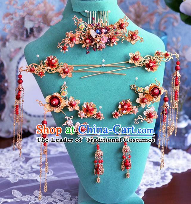 Chinese Ancient Handmade Hair Accessories Traditional Xiuhe Suit Hair Combs Hairpins Complete Set for Women