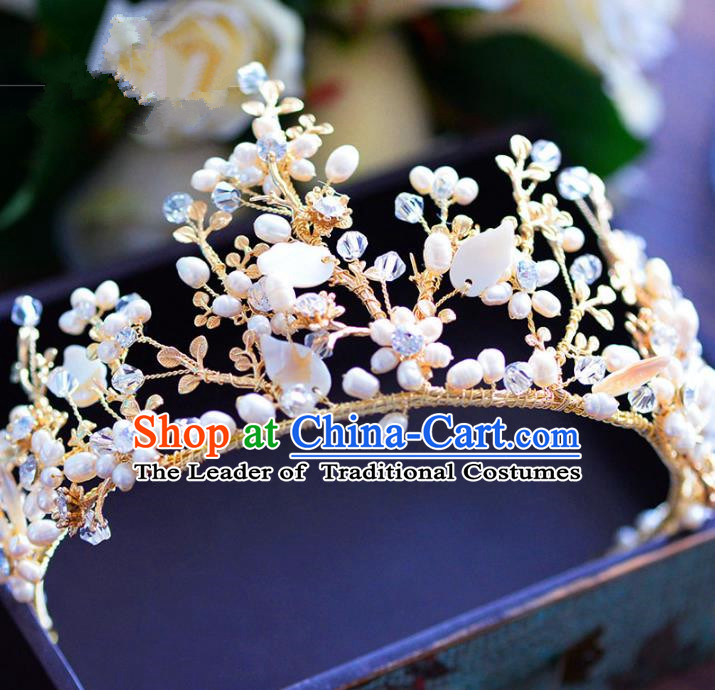 Handmade Baroque Style Hair Jewelry Accessories Bride Pearls Royal Crown Princess Imperial Crown for Women