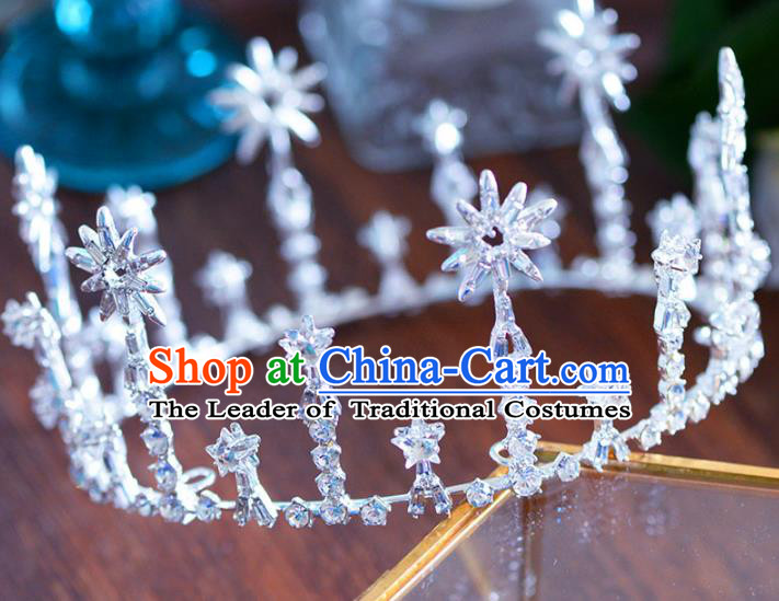 Handmade Baroque Hair Jewelry Accessories Crystal Round Royal Crown Princess Imperial Crown for Women