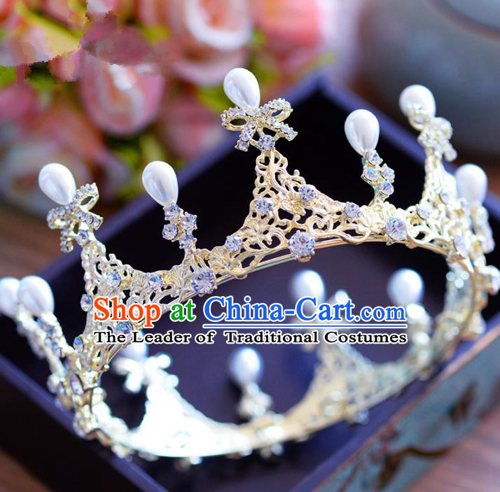 Top Grade Handmade Baroque Crystal Bowknot Royal Crown Bride Zircon Hair Imperial Crown for Women