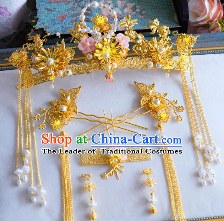 Chinese Ancient Handmade Xiuhe Suit Phoenix Coronet Traditional Hairpins Hair Accessories Complete Set for Women