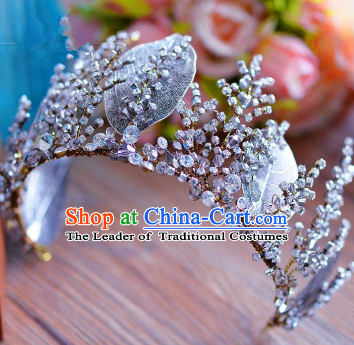 Top Grade Handmade Baroque Leaf Royal Crown Bride Zircon Hair Imperial Crown for Women