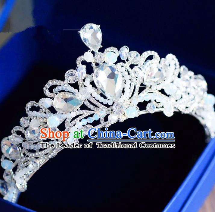 Top Grade Handmade Baroque Crystal Beads Royal Crown Bride Zircon Hair Imperial Crown for Women