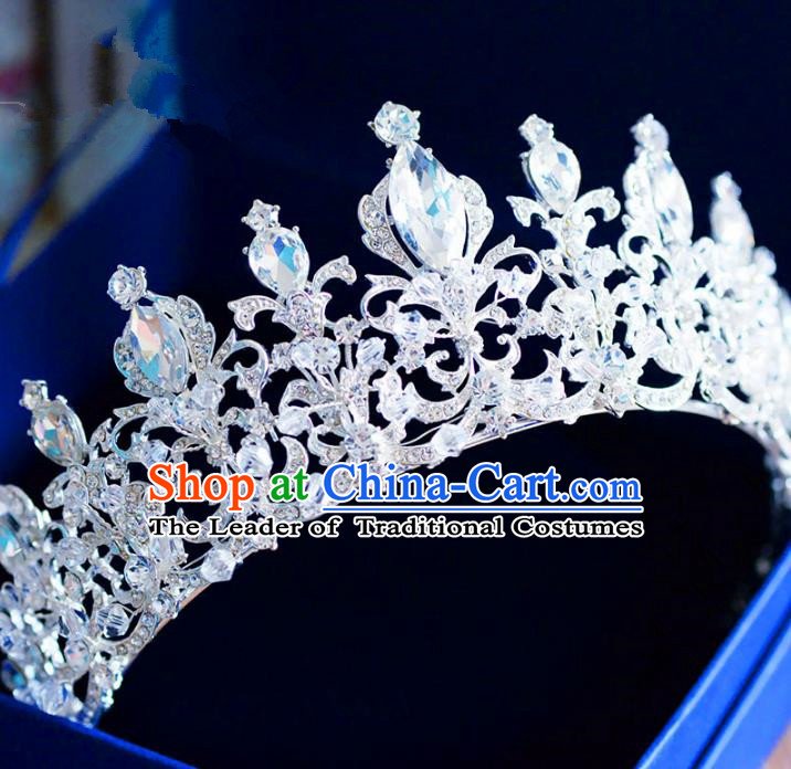 Top Grade Handmade Baroque Princess Crystal Royal Crown Hair Imperial Crown for Women