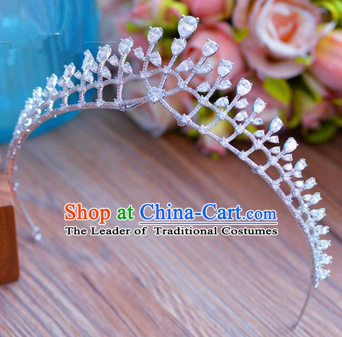 Top Grade Handmade Baroque Princess Zircon Royal Crown Crystal Hair Imperial Crown for Women