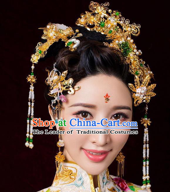 Chinese Ancient Handmade Xiuhe Suit Jade Phoenix Coronet Traditional Hairpins Hair Accessories for Women