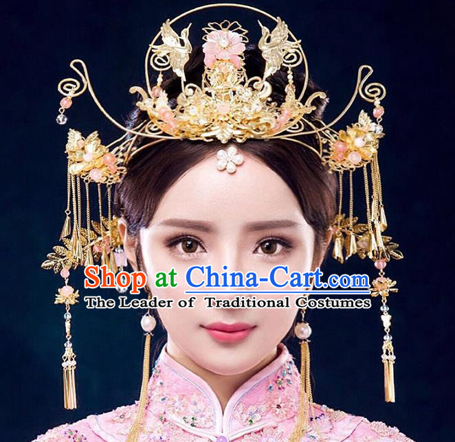 Chinese Ancient Handmade Xiuhe Suit Phoenix Coronet Traditional Tassel Hairpins Hair Accessories for Women