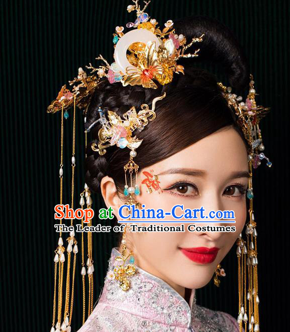 Chinese Ancient Handmade Phoenix Coronet Traditional Xiuhe Suit Jade Hairpins Hair Accessories for Women