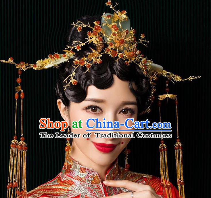 Chinese Ancient Handmade Jade Phoenix Coronet Traditional Xiuhe Suit Hairpins Hair Accessories for Women