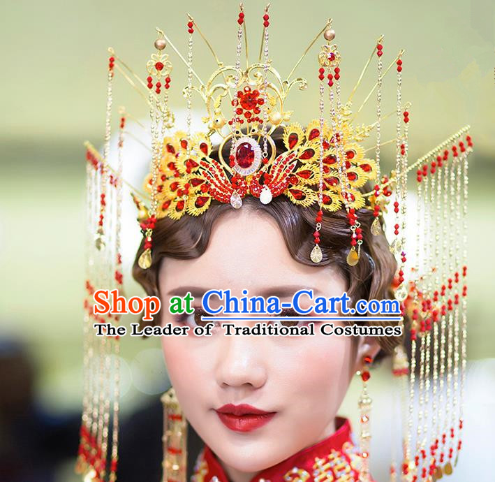Chinese Ancient Handmade Hair Accessories Bride Phoenix Coronet Traditional Hairpins Complete Set for Women