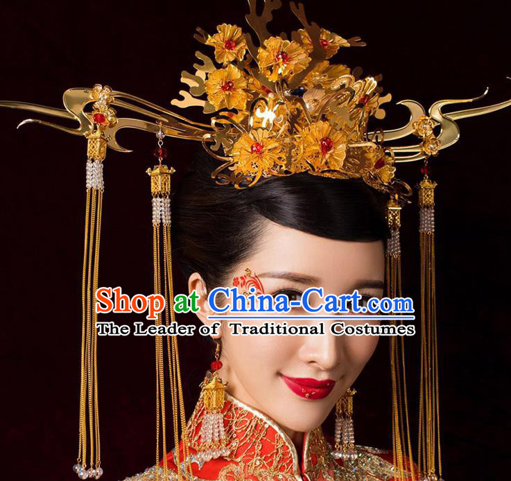 Chinese Ancient Handmade Bride Golden Phoenix Coronet Traditional Xiuhe Suit Hairpins Hair Accessories for Women