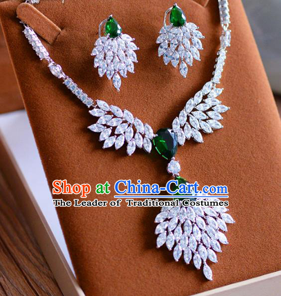 Top Grade Handmade Wedding Jewelry Accessories Crystal Necklace and Earrings for Women
