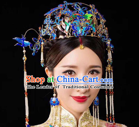Chinese Ancient Handmade Palace Cloisonne Phoenix Coronet Traditional Hair Accessories Xiuhe Suit Hairpins for Women