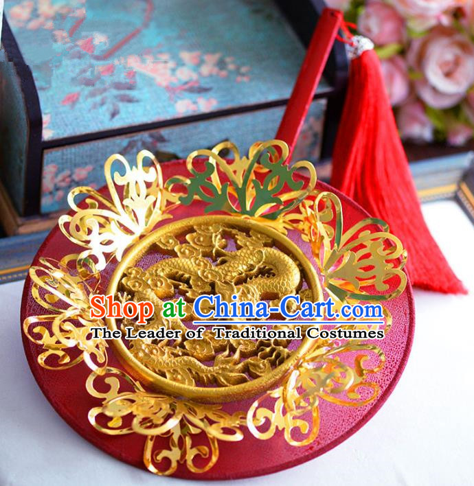 Chinese Handmade Wedding Accessories Red Palace Fans Hanfu Round Fans for Women