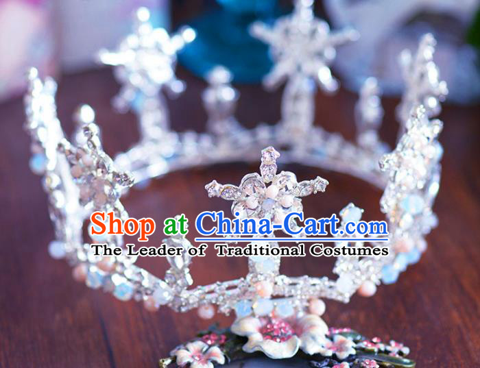 Baroque Style Hair Jewelry Accessories Bride Crystal Round Royal Crown Princess Imperial Crown for Women