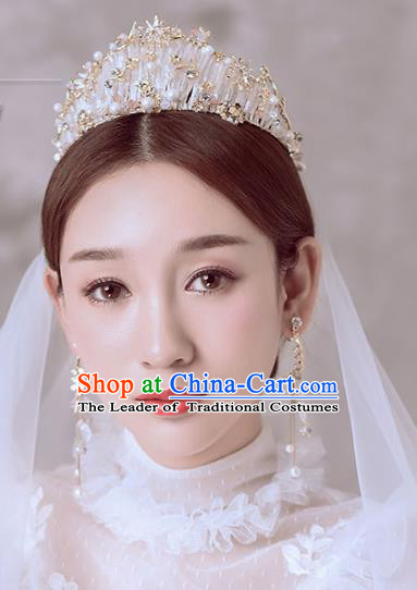 Baroque Style Hair Jewelry Accessories Bride Crystal Beads Royal Crown Princess Imperial Crown for Women