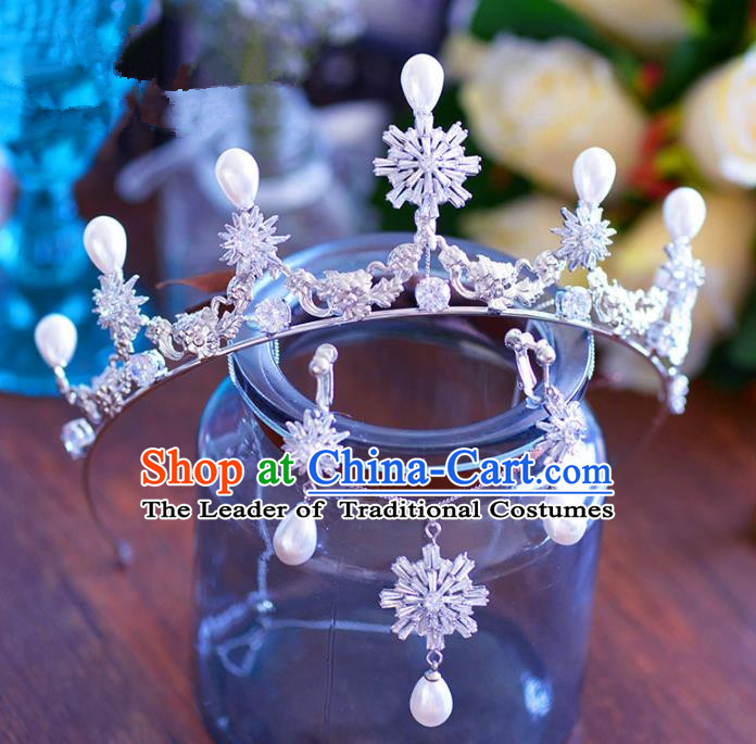 Baroque Style Hair Jewelry Accessories Bride Crystal Pearls Royal Crown Princess Imperial Crown and Earrings for Women