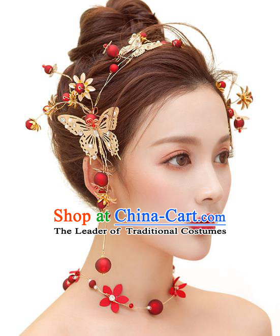 Top Grade Handmade Jewelry Accessories Chinese Ancient Bride Butterfly Hair Clasp for Women