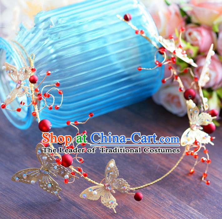 Top Grade Handmade Jewelry Accessories Chinese Ancient Bride Golden Butterfly Hair Clasp for Women