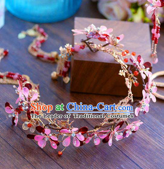 Top Grade Handmade Hair Accessories Chinese Bride Flowers Hair Clasp Garland for Women