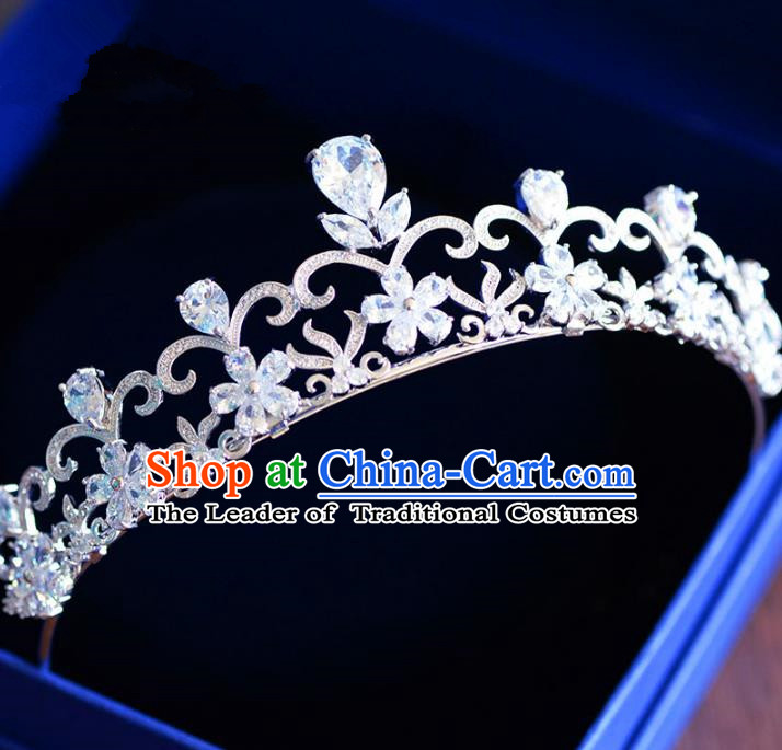 Top Grade Handmade Baroque Hair Jewelry Accessories Royal Crown Bride Zircon Imperial Crown for Women