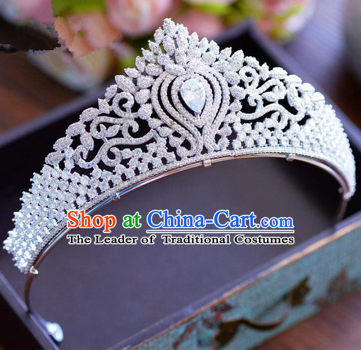 Top Grade Handmade Baroque Hair Jewelry Accessories Crystal Royal Crown Bride Zircon Imperial Crown for Women