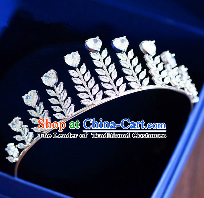 Top Grade Handmade Baroque Crystal Royal Crown Hair Jewelry Accessories Bride Zircon Imperial Crown for Women